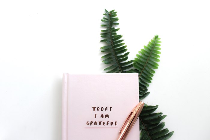 "A notebook that says, ""Today I am grateful"""